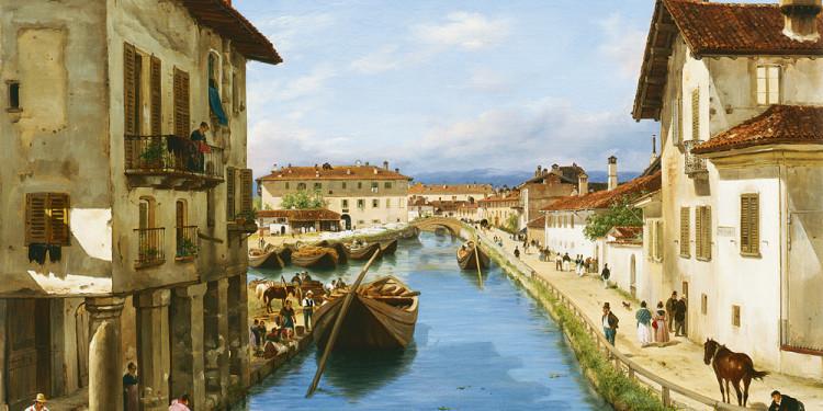 Giuseppe Canella (Verona 1788 – Firenze 1847) Veduta del canale Naviglio presa sul ponte di San Marco, 1834 Olio su tela, 65 x 82 cm Collezione Fondazione Cariplo