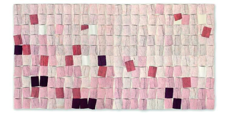 Grazia Gabbini, Sur-face, 2011, inedito, collage di carta e pigmenti su tela, 200 x 390 cm, collezione dell'artista