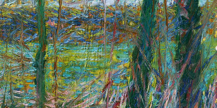 Umberto Boccioni (Reggio Calabria 1882 – Verona 1916) Campagna con alberi e ruscello (Rio), 1908 Olio su tela, 40 x 22,3 cm Collezione Intesa Sanpaolo
