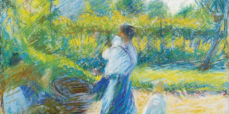 Umberto Boccioni (Reggio Calabria 1882 – Verona 1916) Donna in giardino, 1910 Pastello su carta applicata su tela, 37 x 38 cm Collezione Intesa Sanpaolo