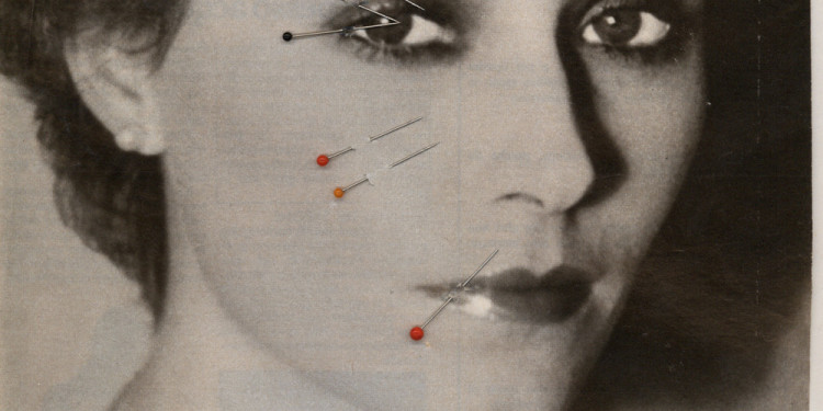 Sanja Iveković. Make-Up. 1979. Magazine page with map pins, 16 1/4 x 15″ (41.3 x 38.1 cm). Collection the artist. © 2011 Sanja Iveković