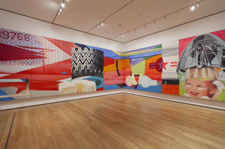 Installation view of James Rosenquist's F-111 (1964-65) at The Museum of Modern Art, 2012. Oil on canvas with aluminum, 23 sections. 10 x 86′ (304.8 x 2621.3 cm). The Museum of Modern Art, New York. Gift of Mr. and Mrs. Alex L. Hillman and Lillie P. Bliss Bequest (both by exchange). © 2012 James Rosenquist/Licensed by VAGA, New York. Photo by Jonathan Muzikar