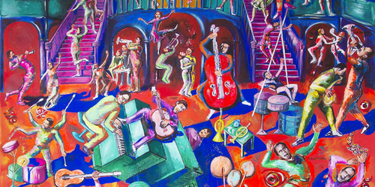 Satira contemporanea - Santa Tecla, 2011- Acrilico su tela, 299 x 299 cm