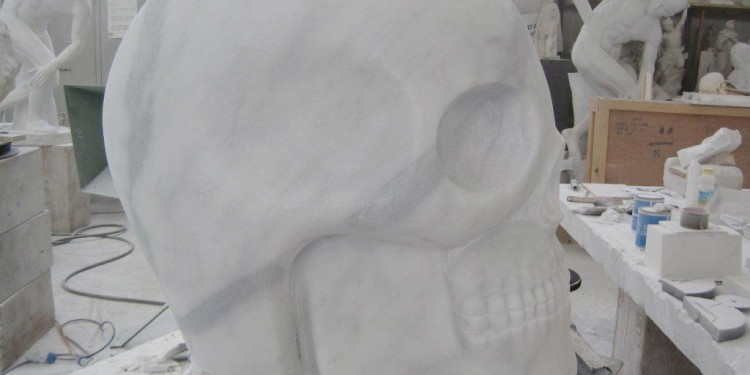 "Consolle ""Tatoo Skull"" plexiglass with application 170 h. x 49 x 42 cm. Limited Editions N.1/9 Year 2011 Edizioni Galleria Colombari"