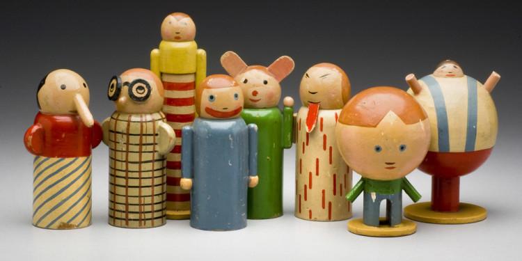 Minka Podhájská (Czechoslovak, born Moravia [now Czech Republic], 1881–1963). Series of Personifications of Childhood Misdeeds. 1930. Painted wood, dimensions vary, largest: 5 1/8″(13 cm) tall. Museum of Decorative Arts, Prague
