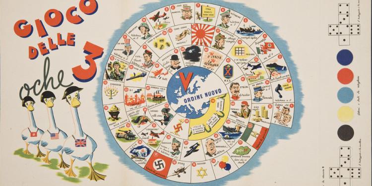 "Unknown Italian designer. Gioco delle 3 oche (Game of the three geese). c. 1944. 12 ½ x 22 ½"" (31.8 x 57.2 cm). The Wolfsonian-Florida International University, Miami Beach, Florida, The Mitchell Wolfson, Jr. Collection"