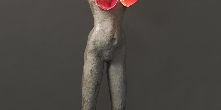 Alina Szapocznikow (Polish, 1926-1973). Femme illuminée (Illuminated Woman). 1966–67. Plaster, colored polyester resin, electrical wiring 61 1/16 x 22 7/16 x 15 3/4″ (155 x 57 x 40 cm). Collection Alexandre Stanisławski Photo. © Fabrice Gousset, Paris, courtesy Piotr Stanisławski and Galerie Gisela Capitain GmbH, Cologne © The Estate of Alina Szapocznikow/Piotr Stanisławski/ADAGP, Paris.