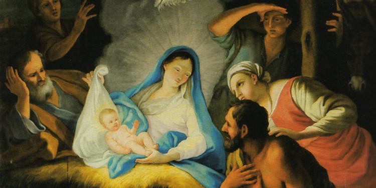 Pittore di scuola emiliana, Natività di Gesù, olio su tela, Torino 1649