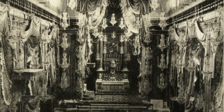 Apparato della chiesa dell'Immacolata Concezione durante i festeggiamenti del III Centenario della morte di San Felice da Catalice-18 maggio 1887