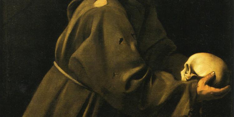 Caravaggio (Michelangelo da Merisi detto il Caravaggio 1571-1610) San Francesco in meditazione, 1603 ca, Convento dell'Immacola Concezione, Ministero dell'interno-Patrimonio del Fondo Edifici di Culto