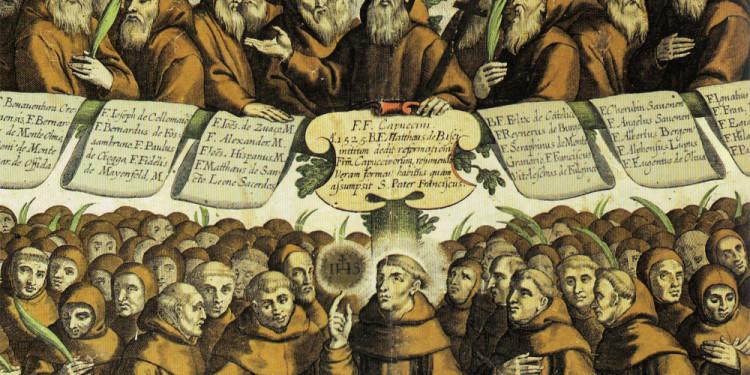 Particolare dell'Albero Serafico dell'Ordine Francescano, stampa litografica colorata a mano del 1881