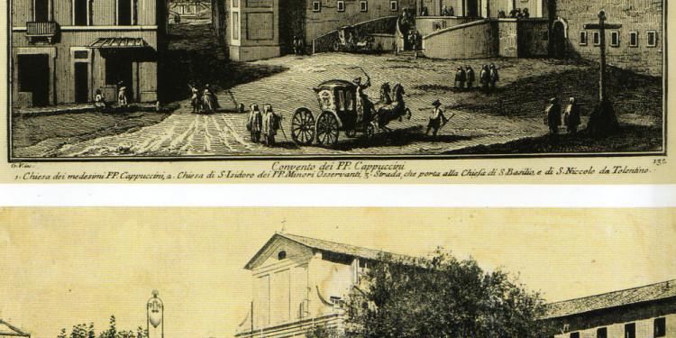 1°) Giuseppe Vasi, Chiesa e convento dei cappuccini, 1782, incisione a bulino 2°) La Chiesa e il convento dei cappuccini, Cartolina degli inizi del XX secolo