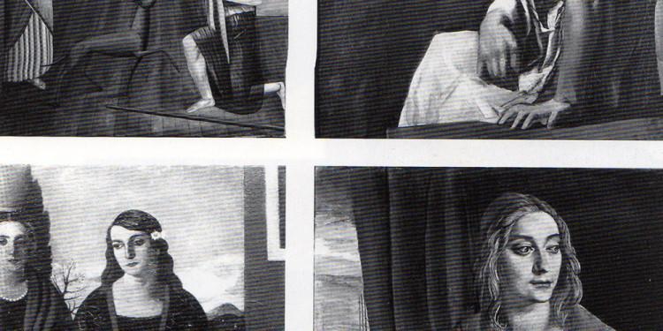 Carlo Carrà, Le figlie di Loth, 1919, olio su tela, cm 111 x 80 (Rovereto, Mart,VAF - Stiftung) - Mario SIroni, Solitudine, 1925 ca.; olio su tela, cm 103 x 85 (Roma, Galleria Nazionale d'Arte Moderna) - Pero Marussig, Autunno, 1924, olio su tela, cm 148 x 98,5 (Rovereto, Mart) - Achille Funi. La sorella, 1923, tempera su tela, cm 90 x 74,5 (Rovereto, Mart)