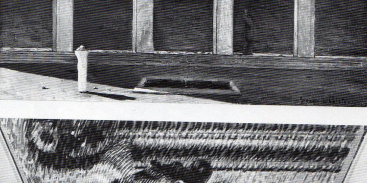 Giorgio De Chirico, L'enigma dell'ora, 1910-11, olio su tela, cm 55 x 71 (Collezione privata) - Giacomo Balla. La mano del violinista o Ritmi del violinista, 1912, olio su tela. cm 52 x 75 (Londra, Estorick Collection)