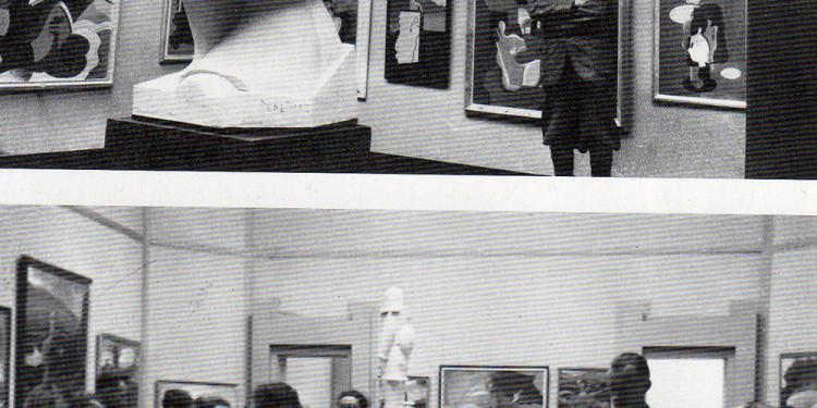 Sala espositiva alla XVII Biennale veneziana. Fillia in piedi fra le due opere, con le sculture di Luigi Pepe Diaz e di Mino Rosso, 1030 (Foto di Fosco Maraini, Mart, Fondo Thayaht, Tha. 5.1.10) - La sala futurista alla XXIII Biennale internazionale d'arte di Venezia, 18 agosto 1942 (Fototecnica Gorizia, Mart, Fondo Tullio Crali, Cra.2.317)