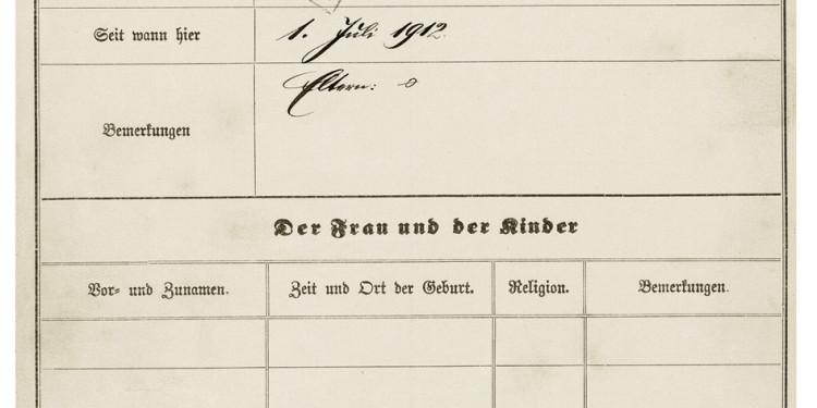 MARCEL DUCHAMP - LE MYSTÈRE DE MUNICH Marcel Duchamp, police registration form, Munich 1912 © Stadtarchiv München