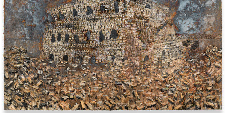 Anselm Kiefer Der fruchtbare Halbmond, 2009 Acrylic, oil, shellac and sand on canvas 430x760x8 cm ⓒAnselm Kiefer Photocredit: Charles Duprat Courtesy Lia Rumma Gallery, Milan/Naples