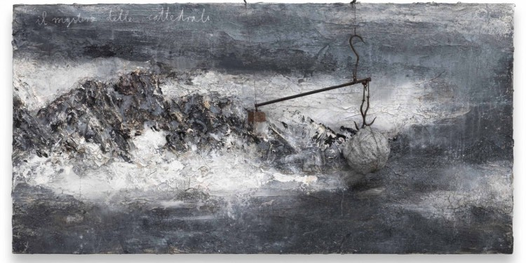 Anselm Kiefer Il Mistero delle Cattedrali, 2012 Oil, acrylic, pastel, steel, lead, chalk and plaster on canvas 190x380x30 cm ⓒAnselm Kiefer Photocredit: Charles Duprat Courtesy Lia Rumma Gallery, Milan/Naples