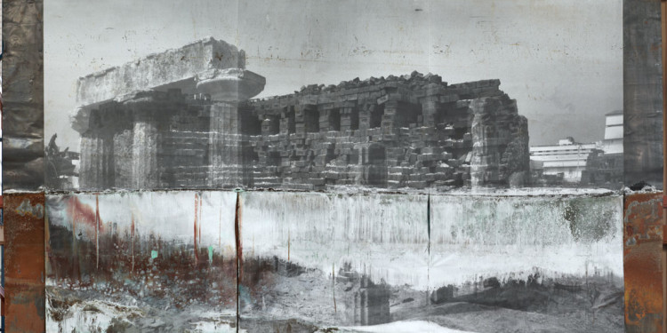 Anselm Kiefer The Shape of Ancient Thought, 2012 Electrolysis on photographic paper on lead 307x440x4 cm ⓒAnselm Kiefer Photocredit: Charles Duprat Courtesy Lia Rumma Gallery, Milan/Naples