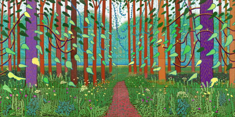 "Arrival_of_Spring.jpg David Hockney ""The Arrival of Spring in Woldgate, East Yorkshire in 2011(twenty eleven)"" Aus einem 52-teiligen Werk / one of a 52 part work Öl auf 32 Leinwänden / Oil on 32 canvases Je / each 91,44 x 121,92 cm, gesamt / total 365,76 x 975,36 cm © David Hockney Photo: Jonathan Wilkinson"