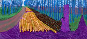 "Winter_Timber.jpg David Hockney ""Winter Timber"", 2009 Öl auf 15 Leinwänden / Oil on 15 canvases Je / each 91,44 x 121,92 cm, gesamt / total 274,32 x 609,60 cm © David Hockney Photo: Jonathan Wilkinson"