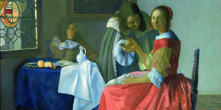 Johannes Vermeer Giovane donna con bicchiere di vino, 1659 – 1660 ca Olio su tela, 78 x 67 cm Herzog Anton Ulrich-Museu, Braunschweig