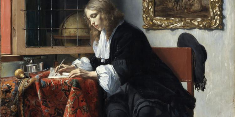 Gabriel Metsu Uomo che scrive una lettera, 1664/1666 ca. Olio su tavola, 52.5 x 40.2 cm National Gallery of Ireland, Dublino