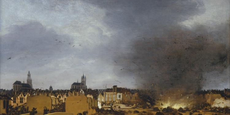 Egbert van der Poel Veduta di Delft con l'esplosione del 1654, 1654 Olio su tavola, 36 x 49 cm Collezione Johnny van Haeften, Londra