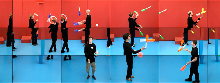 "The Jugglers, June 24TH 2012"" Still from 18 screen video © David Hockney"