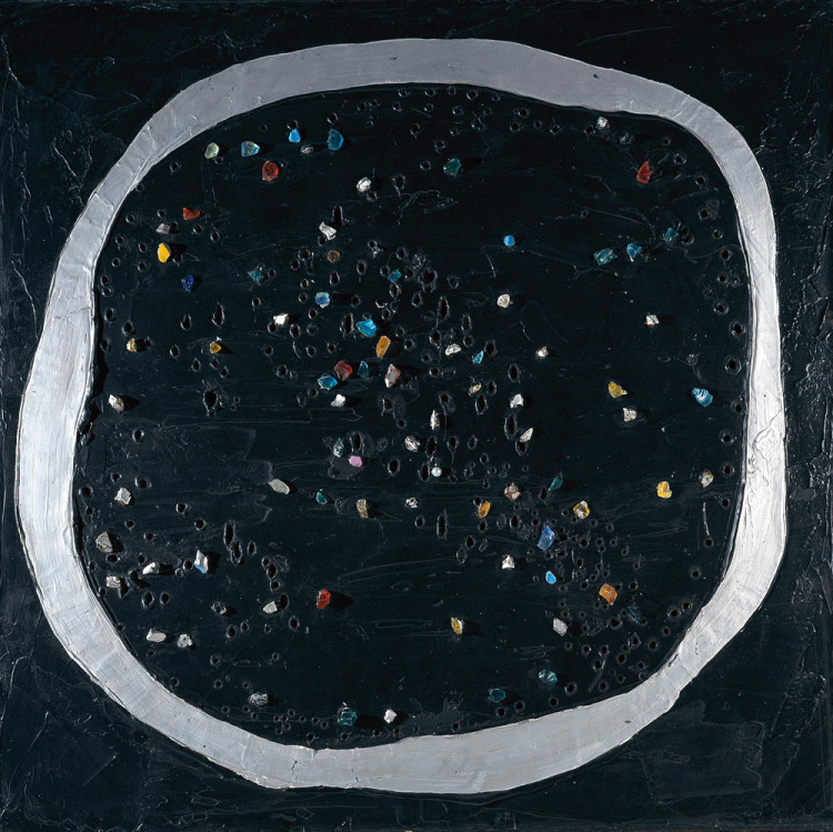 Lucio Fontana (Rosario di Santa Fé 1899 - Comabbio, Varese 1968) Spatial Concept: Venice Moon, 1961 oil and glass on canvas, 150 x 150 cm Intesa Sanpaolo Collection Gallerie d'Italia - Piazza Scala, Milan