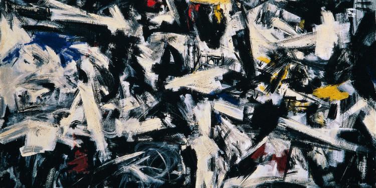 Emilio Vedova (Venezia 1919 - 2006) Disturbed Space T.1, 1957 tempera grassa (fat tempera) on canvas, 134.5 x 167.9 cm Intesa Sanpaolo Collection Gallerie d'Italia - Piazza Scala, Milan
