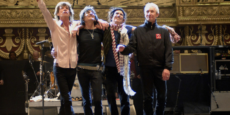 The Rolling Stones during the making of Shine A Light, directed by Martin Scorsese, 2008,USA. Image courtesy of Kevin Mazur/WireImage.