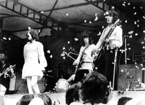 The Stones in the Park. 1969. Great Britain. Directed by Leslie Woodhead. Pictured: Mick Taylor, Mick Jagger, Keith Richards, Bill Wyman. Courtesy Photofest.
