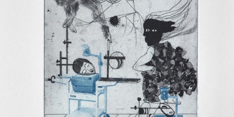 Ofri Cnaani. Projection Room II, Etching, 44x30.5 cm, 2012