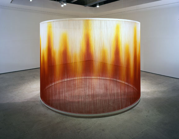 Teresita Fernández, Fire, 2005, silk yarn, steel armature, epoxy, 96 x 144 (diameter) inches.