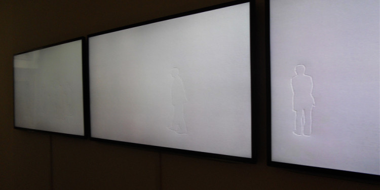 SHIN II KIM - Invisible Masterpiece, 2004, 708 pressed line drawings on paper, 3 video monitors, Installation