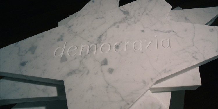 FRANCO IONDA, Democracy 2012/2013, 33 beheaded white of Carrara marble stars