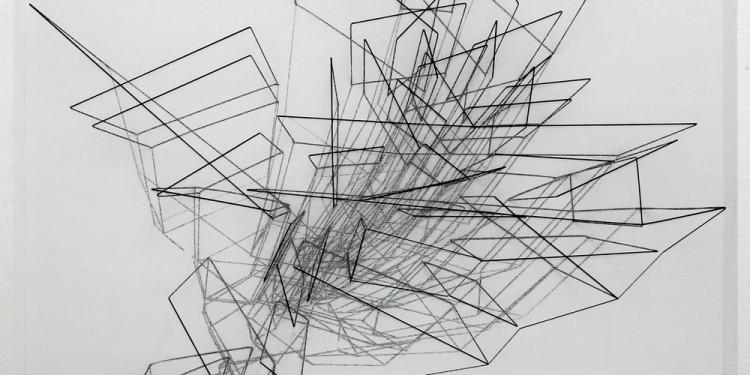 EMANUELA FIORELLI, Growth, 2012, cm 115x115x10, eleastic thread and tarlatan gauze