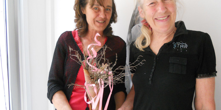 onda bianca homage to Jill Rock art, eucalyptus bark, thyme twigs, pink ribbon, cupper tube may 20, 2013