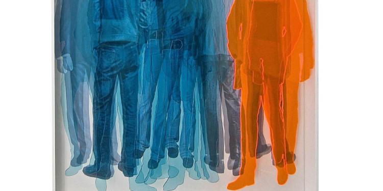 FORME SIMULTANEE,Vincenzo Ceccato, 2013-Sagome in plexi e serigrafia su tela e neon-cm.130x100