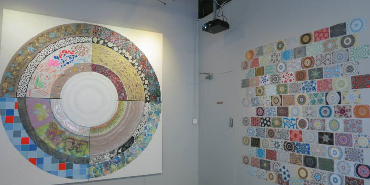 Ki Hyun Kim, Eu Rim Kim, Brian Johnson & Clarence Chan_Soul Mandala Love2-2, Mixed media on board, 240x240cm, 2013