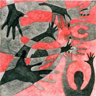 Ombre (Inferno, canto V), 2001 Matita e inchiostro nero e rosso su carta, 32 x 32 cm, Collezione Gillo Dorfles