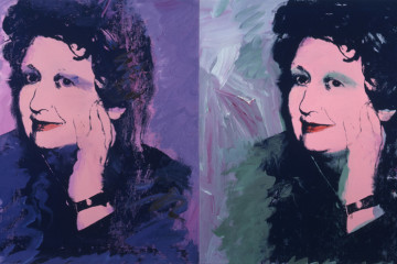 Andy Warhol (United States, 1928–1987). Ileana Sonnabend. 1973. Acrylic and silkscreen on canvas, two panels. 40 x 80″ (101.6 x 203.2 cm). Sonnabend Collection, New York. © 2013 Andy Warhol Foundation for the Visual Arts / Artists Rights Society (ARS), New York