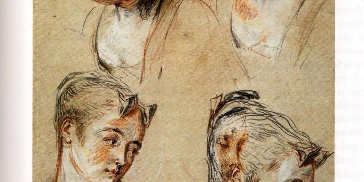 Antoine Watteau-Quattro studi di testa femminile, 1716-1717-Londra, British Museum