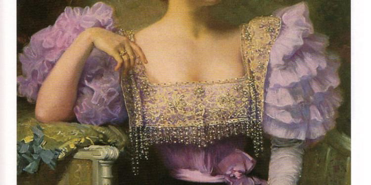 Jule Machard, Giovane donna e bouquet di ortensie, 1896. Collezione privata