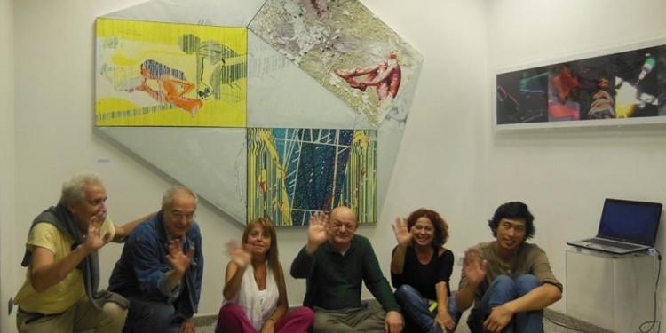 Saluto di alcuni artisti della mostra presso RO.MI. Arte contemporanea